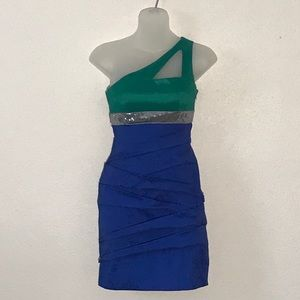 Adrianna Papell Womens Dress XS Green Silver Blue